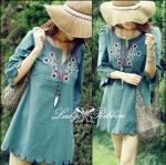 2HH5335/039 Bohemian vintage green floral dress เดรสปักลายดอกไม้ผ้าพื้นสีเขียว สไตล์วินเทจ ป้ายSnidel