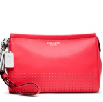 Coach LEGACY PERFORATED LEATHER LARGE WRISTLET # 48957