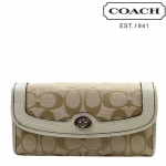 Coach Park Turn Lock Slim Envelope Wallet # 49165 สี Light Khaki/Pearl