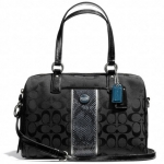 COACH SIGNATURE STRIPE SATCHEL PURSE CROSSBODY F24884 สี BLACK