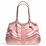 COACH SIGNATURE STRIPE ZEBRA PRINT DEVIN SHOULDER BAG #  สี SILVER/PINK TULLE/TAN