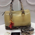 กระเป๋า Furla Mini Candy Bag ฐานลายงู size ฐ.10.5 นิ้ว สู.7 ก.4 นิ้ว งานเรซิน ทั้งด้านนอกและด้านใน อะไหล่ปั๊ม