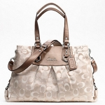 COACH ASHLEY 3 COLOR SIGNATURE CARRYALL # 18450 SILVER/LIGHT KHAKI MULTI