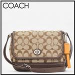 COACH PARK SIGNATURE CROSSBODY BAG  # 23286 สี Khaki & Mahogany