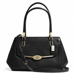 COACH MADISON SMALL MADELINE EAST/WEST SATCHEL IN LEATHER # 25169 สี LI/BLACK
