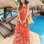 Summer Maxi Dress-Chiffon *With PU belt | ซัมเมอร์เดรสผ้าชีฟองพิมพ์ลายกราฟฟิค แฟชั่นเกาหลี