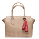 Coach legacy perforated leather medium candace carryall # 22390 สี sand
