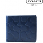 COACH SIGNATURE EMBOSSED LEATHER COMPACT ID WALLET# 74686 สี MARINE