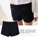 """""""พร้อมส่ง""""เสื้อผ้าแฟชั่นสไตล์เกาหลีราคาถูก กางเกงขาสั้น เอวสูง แต่งดิ้นสีดำ กระเป๋าหลอก2ข้าง แต่งขอบหนังสีดำ มีซับใน ซิปข้าง size M"""