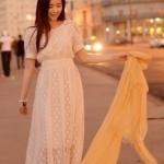 """""""พร้อมส่ง""""เสื้อผ้าแฟชั่นสไตล์เกาหลีราคาถูก Brand God is girl เดรสยาว ผ้าลูกไม้สีขาว เอวจั๊ม กระดุมคอด้านหลัง1เม็ด มีซับใน"""