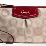 Coach Ashely Dotted Op Art Large Wristlet # 48053 สี Brass/Khaki/Crimson