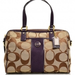 Coach Signature Stripe Satchel Handbag # 24364