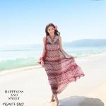Summer Maxi Dress-Chiffon | ซัมเมอร์เดรสผ้าชีฟองพิมพ์ลายกราฟฟิค แฟชั่นเกาหลี