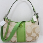 COACH SIGNATURE STRIPE DEMI CROSSBODY BAG # 28206 สี LIGHT KHAKI /GREEN