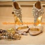 [พร้อมส่ง] รองเท้าส้นสูง สีทอง ประดับมุก หุ้มข้อ แบบสวย ใส่ออกงานได้เลยค่ะ 37#38#39#