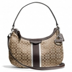 Coach Signature Stripe 6CM Demi Crossbody # 26981 สี Khaki Brown