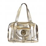 Michael Kors Fulton Large Satchel Leather Hand Bag in Pale Gold
