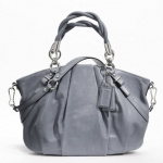 COACH MADISON PLEATED LEATHER SOPHIA SATCHEL # 22563 สี Silver /Slate