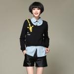เสื้อยืดกันหนาวไซส์ใหญ่ สีดำ แขนยาว ลายยีราฟ เสื้อเย็บหลอก(ติดกัน) (XL,2XL,3XL,4XL)