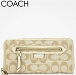 Coach Daisy Outline Signature Metallic Zip Around Wallet # 49469