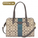 COACH SIGNATURE STRIPE 12CM NANCY SATCHEL # 28505 สี KHAKI/RACING GREEN