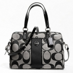 COACH SIGNATURE STRIPE SATCHEL # 24364 สี Black