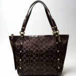 Coach Signature Stripe Gold Lurex Tote # 18796 สี Brown