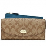 Coach Sign PVC Slim Envelope Wallet/Pouch # 52601 สี Khaki/Teal