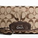 Coach Signature Large Flap Wristlet Bag # 48127 Khaki Mahogany