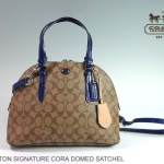 Coach Peyton Signature Cora Domed Satchel Shoulder Handbag # 24606 สี Khaki/Navy