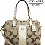Coach Signature Stripe Satchel Handbag # 24364 สี Khaki/Gold