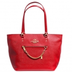 COACH TOWN CAR TOTE IN CROSSGRAIN LEATHER # 34817 สี LIGHT GOLD/ RED