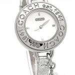 Coach Phoebe Charm Patent Leather Ladies Watch Authentic # 14501280 สี Silver