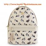 [พร้อมส่ง] กระเป๋าเป้สีครีม ลายกระต่าย ขนาดกลาง