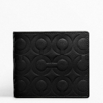 COACH Embossed Bifold Wallet # 74179 สี Black