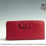 COACH BOW LEATHER ACCODIAN ZIP WALLET # 52632 สี LIGHT GOLD / RED