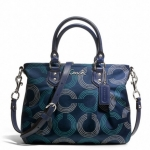 COACH Ashley Dotted Op Art Mini Tote Crossbody # 20343 สี Silver/Navy/Deep Ink
