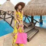 Summer Maxi Dress-Chiffon *With PU belt | ซัมเมอร์เดรสผ้าชีฟองพิมพ์ลาย เดรสแฟชั่นเกาหลี