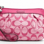 COACH SHANTUNG PLEATED MEDIUM WRISTLET # 48754 สี Silver/Pink/Pink