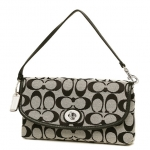 COACH PARK SIGNATURE LARGE FLAP WRISTLET # 51820 สี SILVER/BLACK WHITE/BLACK สำเนา