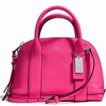 Coach Bleecker Mini Preston Satchel in Pebbled Leather # 30143 สี Silver /Pink Ruby