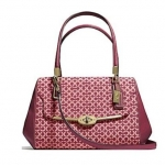 COACH MADISON SMALL MADELINE EAST/WEST SATCHEL IN OP ART NEEDLEPOINT FABRIC # 25215 สี Silver/ Cranberry