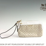 COACH MADISON DOUBLE L-ZIP WRISTLET IN OP ART PEARLESCENT FABRIC # 51396