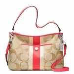 COACH HAMPTONS WEEKEND SIGNATURE STRIPE HIPPIE # 22418 สี LIGHT KHAKI/BRIGHT CORAL