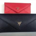 กระเป๋าสตางค์  Prada 3 พับ รูปสามเหลี่ยม งานสวยเนี๊ยบ ขนาด  7.5 x 4 นิ้ว