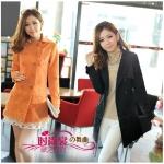 เสื้อโค้ทเกาหลีไซส์ใหญ่ [ส้ม][ดำ] XL 2XL 3XL