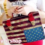 กระเป๋าลายธงชาติ สีแดง