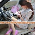[พร้อมส่ง] รองเท้าส้นสูง สีชมพู หัวแหลม  ไซส์38#39#
