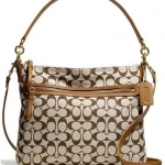 COACH POPPY PERRI HIPPIE IN SIGNATURE FABRIC #  30902 สี B4/KHAKI/SADDLE