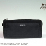 COACH DARCY PATENT LEATHER SLIM ZIP WALLET # 50438 สี Silver / Black
